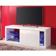 Meuble TV blanc à porte coulissante et LED intégré