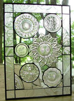 Vintage Crystal plate collage panel stained glass. I would love to have some type of stained glass somewhere in our new house. Maybe in a surprise spot that would make you smile every time you saw it :-)