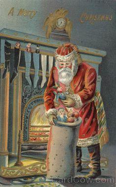 Vintage Christmas Post Card, A Merry Christmas - Santa with Toys