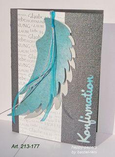 Einladungskarten - Einladungskarte mit Flügeln Kommunion Konfirmation - ein Designerstück von happy-papers bei DaWanda