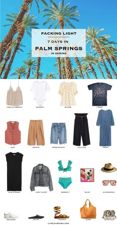 I have a one week in Palm Springs packing list today for the not-quite-as-young crowds. That doesn't mean boring though. There are still lots of ways to look and remain cool without looking like you raided your teens closet ; Summer Packing Lists, Packing List For Vacation, Vacation Outfits, Vacation Travel, Travel List, Vacation Ideas, California Outfits, California Vacation, Southern California