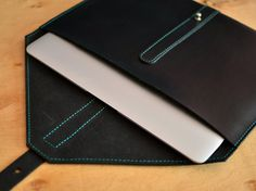 Black leather case. MacBook leather sleeve. Black by InnesBags