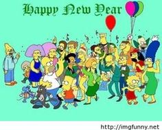 Happy New Year Simpons cartoon image