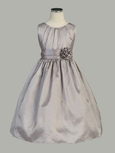 Pleated Solid Taffeta Sleeveless Flower Girl Dress. Dont know if u like the color but I think it's cute