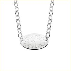 """sterling silver #monogram oval disk with three initials. 18"""" sterling silver link chain  $129  www.skatellsjewelers.com"""