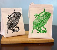 Lunch Bag Kale Reusable Bags Screen Printed Canvas Tote Bags Veggie Lovers Gifts Eco Friendly Gift Vegetable Lunch Box
