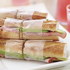 Avocado Ham Sandwiches and 18 other recipes for a perfect picnic~~  Love the Avo/ham Sammie's. use the Rosemary mayo (from BLT sand) and Dijon butter (from Avo/ham) on so many other sandwiches now.