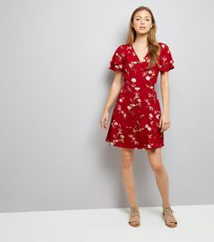 Red Floral Print Wrap Front Dress | New Look