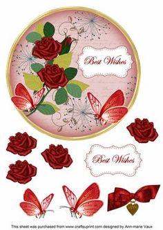 Red Rose Best Wishes 7in Circle Decoupage Topper on Craftsuprint - Add To Basket!