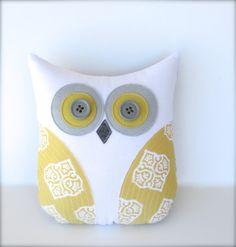 Inspiration Etsy owl pillow, stuffed owl, grey and yellow nursery, yellow pillow, decorative pillow, mustard pillow, gray and yellow decor, graduation gift