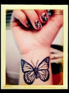 """butterfly tattoo - love the simple black. Would do a quote underneath from my Life Change song """"She's a butterfly, pretty as the crimson sky...nothin's ever gonna bring her down"""" (in 3 rows)"""