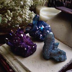 Sacra Luna @sacraluna Featuring blue spirit quartz, tanzanite aura quartz and lavender aura quartz.