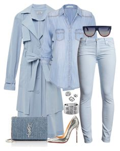 """Blue Skies"" by fashionkill21 ❤ liked on Polyvore featuring SUNO New York, maurices, Yves Saint Laurent, 7 For All Mankind, Christian Louboutin, Hermès and CÉLINE"