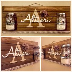 Personalized Rustic Wood Pallet Sign, Family Name Sign, Mason Jar Wood Sign, Shabby Chic Sign, Housewarming Gift Wood Pallet Crafts, Wood Pallet Signs, Wood Pallets, Pallet Projects, Diy Wood, Pallet Ideas, Rustic Wood Walls, Rustic Wood Signs, Wooden Signs