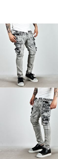 ★SOLD-OUT★ Dark Clouds Wash Skinny Cargo White Jeans - 96 - NSIE NewStylish