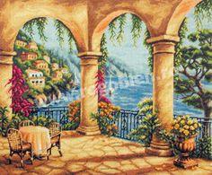 Cod produs Terasa inflorita Culori: 40 Dimensiune: 25 x Pret: lei Cross Stitch, Scene, Tapestry, Kit, Gallery, Artwork, Crafts, Painting, Mamma Mia