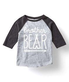 Look at this #zulilyfind! Heather Gray & Black 'Brother Bear' Raglan Tee - Toddler & Boys #zulilyfinds