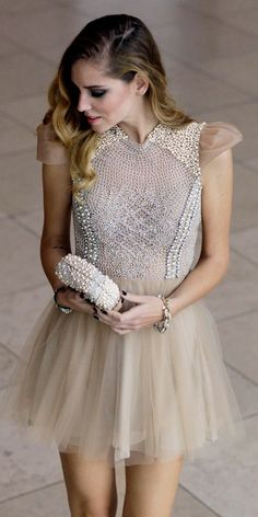 beaded & tulle dress