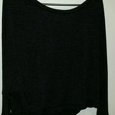 Long sleeve crop top Black and gray stripped long sleeve crop top. Lose fitting Max Studio Tops Crop Tops