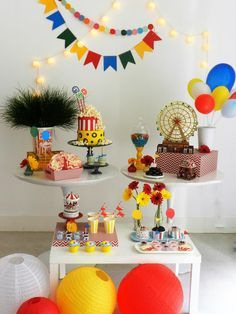 festa infantil parque de diversoes bella idea inspire-17 Birthday Decorations, Birthday Party Themes, Table Decorations, Festa Frozen Fever, Eid Stickers, Muppet Babies, Circus Theme, Cake Smash, Party Time