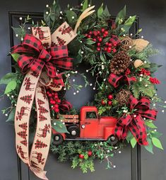 Red Truck Wreath, Red Truck Christmas Wreath, Rustic Christmas Wreath, Woodland Christmas Wreath, Sassy Wreath, Wreath With Truck