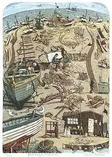 Etching of Aldeburgh (gentle Suffolk seaside place) from master Glynn Thomas.