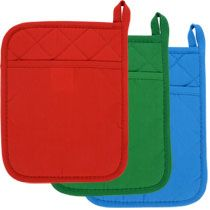"Bulk Brightly-Colored Cotton Pot Holders with Neoprene Backing, 9x7"" at DollarTree.com"