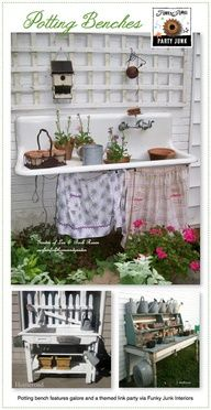 Potting benches! Sink turned into Fountain.  Apron hides the pump
