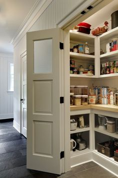 An Easy Way to Add More Counter Space to Your Kitchen. Looking for remodel or renovation ideas? Upgrade your pantry, no matter what size it is, with a countertop at waist level instead of a shelf.: