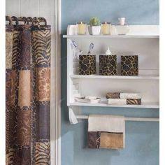 Leopard Print Bathroom, Animal Print Bathroom, Safari Bathroom, Gold Bathroom, Bathroom Decor Sets, Bath Decor, Bathroom Accessories, Bathroom Stuff, Bathroom Organization