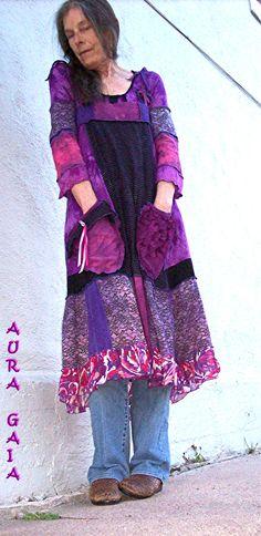Tunic & Ragdoll Dress Tunic...Layered OverDyed Upcycled 2Pc AuraGaia