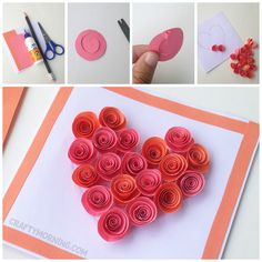 DIY Rolled Paper Roses Valentines Day or Mother's Day Card – Arrangeant Peasy and Fun Roses Valentines Day, Valentine Day Crafts, Valentine Heart, Rose Crafts, Heart Crafts, Craft Projects For Kids, Crafts For Girls, Neli Quilling, Diy Baby Girl Bibs