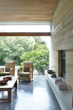 The Gibson's beautifully done Sydney home. I love the modern, rustic living room with big windows