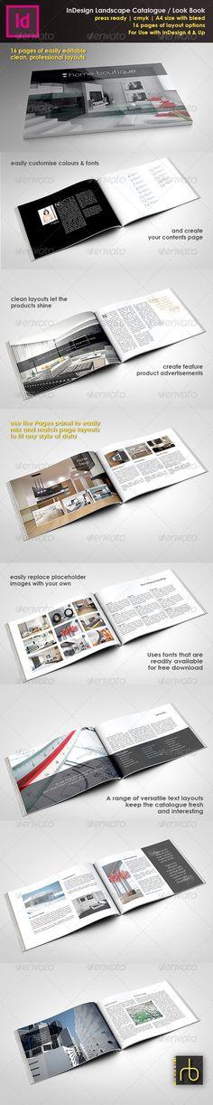 A4 Landscape Brochure/Look Book InDesign Template - Catalogs Brochures