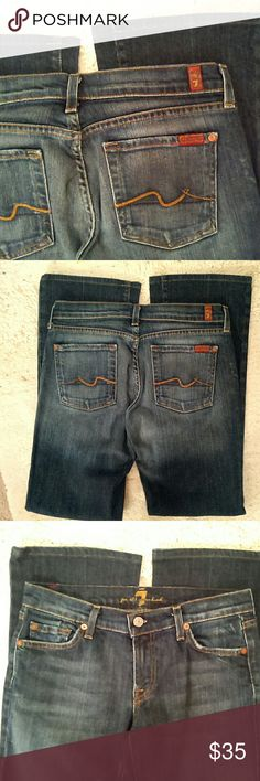 """7FAM dark blue jeans dark blue wash; boot cut; size 29; inseam 30""""; slight shredding on front pockets see pic 3      (T-16) 7 for all Mankind Jeans Boot Cut"""