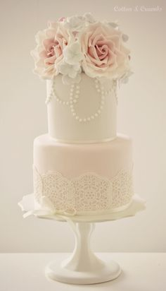 Lace Wedding Cakes Pretty Little Things / So Chic Two Tier Cake By Cotton And Crumbs - Beautiful Wedding Cakes, Gorgeous Cakes, Pretty Cakes, Simple Bridal Shower, Bridal Shower Cakes, Cotton And Crumbs, Bolo Floral, Floral Cake, Two Tier Cake