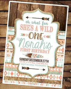 Party by Number: ONE - Halfpint Design - Great first birthday party invitation ideas....Oh what fun, she's a wild ONE