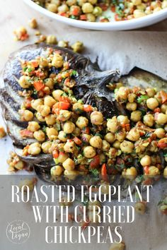 Roasted Eggplant with Curried Chickpeas