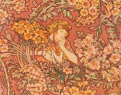 alphonse mucha prints | Redhead Among Flowers by Alphonse Mucha Art Print - WorldGallery.co.uk