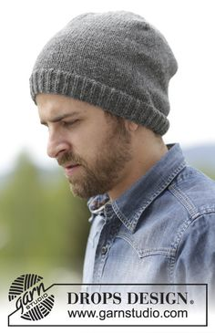 """Nellim - Smooth right knitted DROPS cap in """"Lima"""" with ribbed edge . : Nellim – Smooth right knitted DROPS hat in """"Lima"""" with ribbed edge. – Free oppskrift by DROPS Design Drops Design, Knit Hat For Men, Hat For Man, Knitting Patterns Free, Free Knitting, Free Pattern, Crochet Patterns, Hat Patterns, Knitted Hats"""