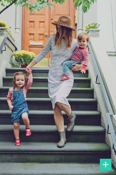 Calling all fashion savvy moms, how this look for a play-date afternoon? Were loving the striped jersey dress #fbloggers #momblogger #Baby #toddlers