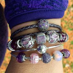 New purple pavé clasp bracelet inspired a pink and purple mini stack for the day, snow is gone and it is Fall again.  #pandorabracelets #theofficialpandora #officialpandora #myarmparty #silverbangles #pink #purple #essence #crystals #motherofpearl #autumn #cantonsdelest #quebec #uniqueasyouare @theofficialpandora
