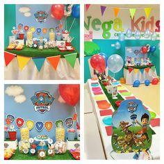 Cumpleaños temático de la Patrulla Canina. Decoración de tercer cumpleaños a todo color con la Patrulla Canina de invitados.