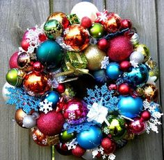 Browse unique items from SouthernMesh on Etsy, a global marketplace of handmade, vintage and creative goods. Christmas Balls, Christmas Fun, Holiday Fun, Christmas Decorations, Etsy Wreaths, Door Wreaths, Ornament Wreath, Ornaments, Tis The Season