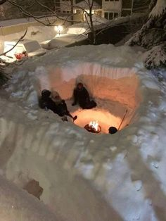 What to do with more than 7 ft. of snow...... create a snow pit and kick back.  Winter in New England.