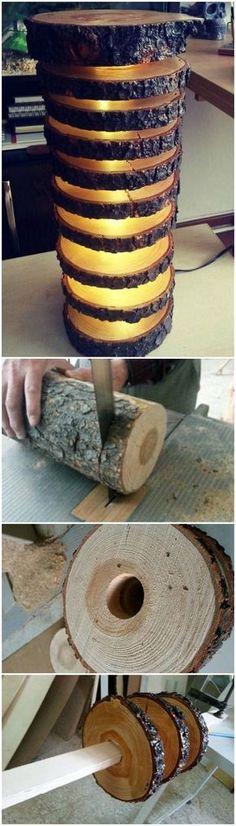 Bodenlampe aus ganzem Holzstamm #DIY #Holz