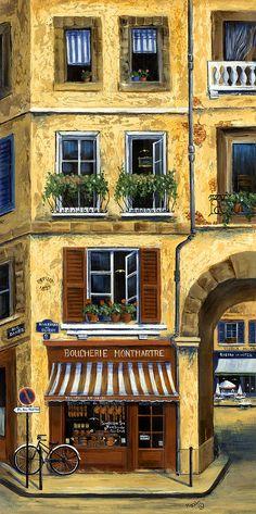 Parisian Bistro And Butcher Shop Painting  - Parisian Bistro And Butcher Shop Fine Art Print