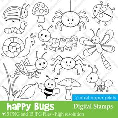 Happy Bugs Digital Stamps por pixelpaperprints en Etsy
