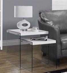Modern White Tempered Glass 2-Piece Nesting Table Set Living Room Furniture   #livingroom #nestingtable #temperedglass