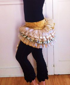Wrap Ruffle Bustle Skirt--Cloth of Gold Burning Man Festival Dance Tutu Pixie Fae Fairy Costume Edwardian Victorian. $95.00, via Etsy.